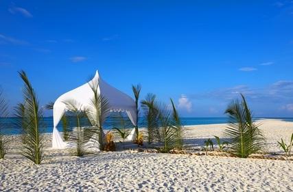 wedding gazebo on sand beach