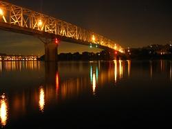 bridge at night with lights