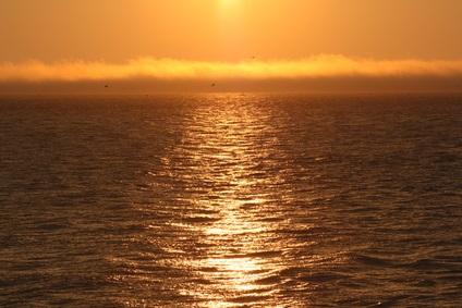 orange-peach sunset over water