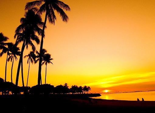 yellow and peach sunset