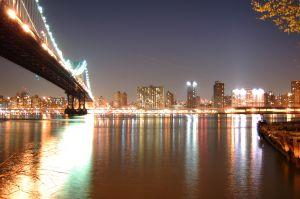 Manhattan bridge romantic city lights at night