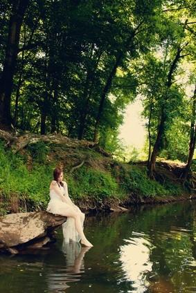 bride at lake