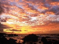 purple, peach, yellow sunrise