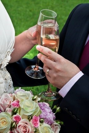 newlywed champagne toast