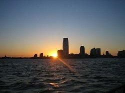 skyline at sunset