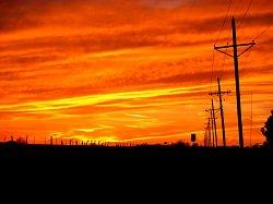 red, orange sunset