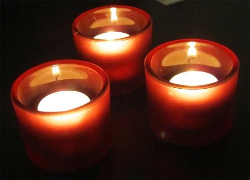 3 candles lit