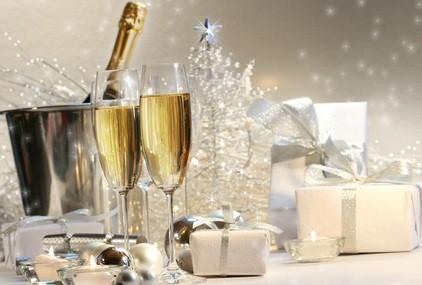 champagne glasses, ice bucket, presents