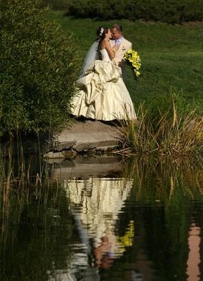 newlyweds at lake
