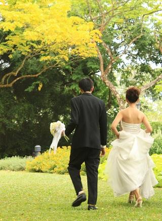 newlyweds outside